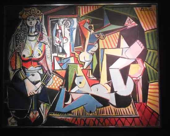 "Picasso, ""Les Femmes d'Alger (Version 'O'),"" 1955, unevenly lit at Christie's presale exhibition Sold May 11 for $179.37 million Photo by Lee Rosenbaum"