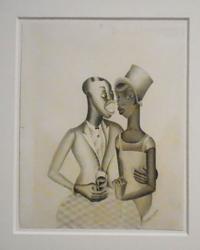 """Miguel Covarrubias, """"Scene: 'The Last Jump,' Caberet on a Saturday Night,"""" 1924 (purchased in 2014) Photo by Lee Rosenbaum"""