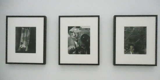 """Some of the photographs in """"Machine Ornament,"""" including Toyo Miyatake's 1932 self portrait, center Photo by Lee Rosenbaum"""