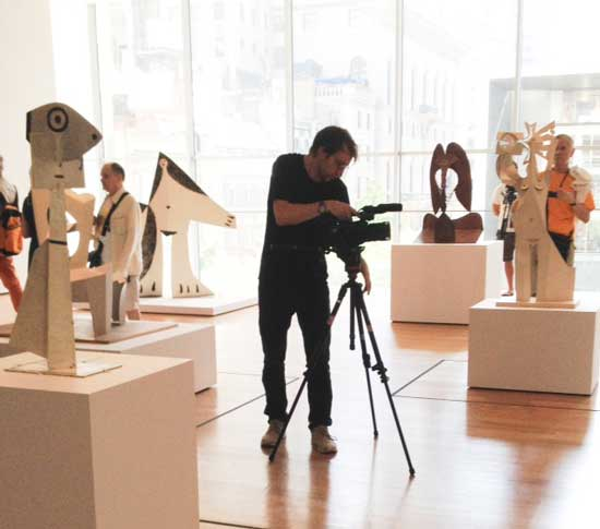 "Installation shot of someone taking installation shot at Museum of Modern Art's ""Picasso Sculpture Photo by Lee Rosenbaum"