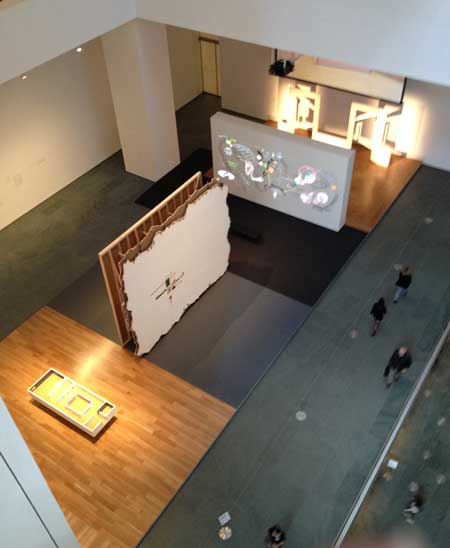 View from above of Walid Raad's atrium installation at MoMA Photo by Lee Rosenbaum