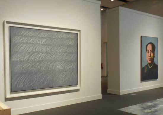 "L to R: Twombly's ""Untitled"" (New York City), 1968; Warhol's ""Mao,"" 1972 Photo by Lee Rosenbaum"