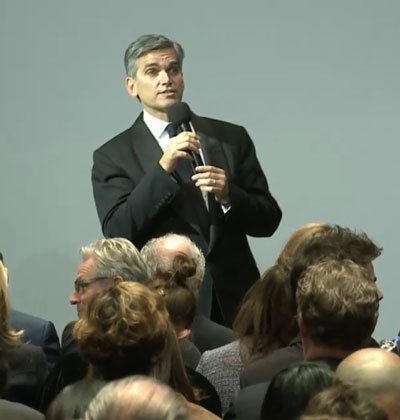 "Tad Smith, Sotheby's CEO, addressing the crowd before the first of the Taubman auctions Screenshot from ""Masterworks"" auction webcast"