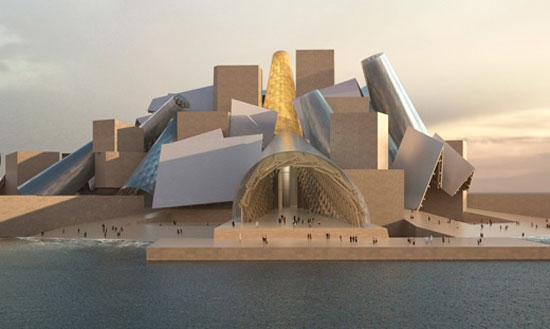 Rendering of planned Frank Gehry-designed Guggenheim Abu Dhabi