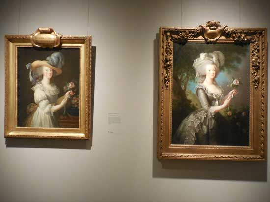 "L: ""Marie Antoinette in a Chemise Dress,"" 1783, Hessische Hausstiftung, Kronberg R: ""Marie Antoinette with a Rose,"" 1783, Collection of Lynda and Stewart Resnick Photo by Lee Rosenbaum"