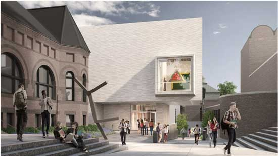Rendering of north entrance of expanded Hood Museum Tod Williams Billie Tsien Architects