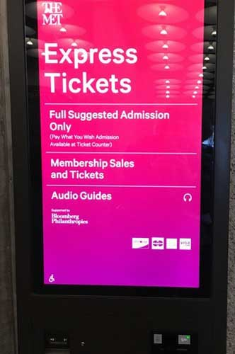 Kiosk at Met Breuer (which doesn't mention that audio guides is free on smartphones) Photo by Lee Rosenbaum