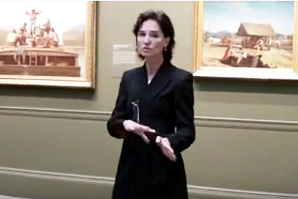 "Carrie Rebora Barratt at the press preview for the Met's 2009 ""American Stories"" show, which she co-curated Screenshot from video by Lee Rosenbaum"
