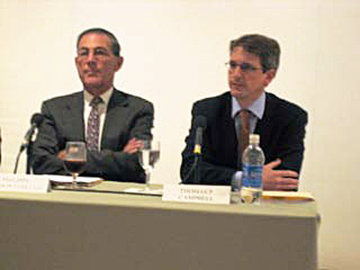 L to R: Philippe de Montebello and Tom Campbell at September 2008 press conference Photo by Lee Rosenbaum