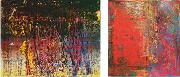 """L to R, Gerhard Richter, """"A.B., St. James,"""" 1988; 'A.B., Still,"""" 1986 Presale estimates: $20-30 million each"""