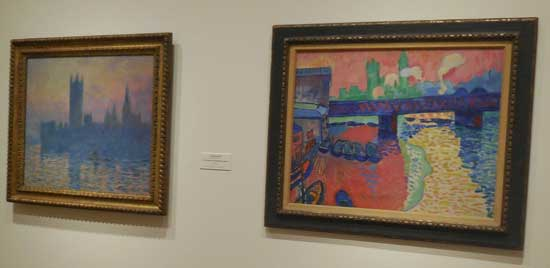 "L: Claude Monet, ""The Houses of Parliament, Sunset,"" 1903 R: André Derain, ""TK,"" 1906"