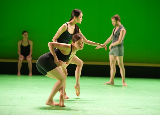 Ia'ara Moses and Chen-Wei Lee (at back Rachel Osborne, Matan David) in Ohad Naharin's Hora. Photo: Stephanie Berger