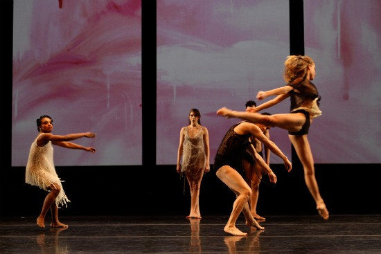 Davalois Fearon, Emily Stone (center back), Natalie McKessy, and men in Stephen Petronio's The Architecture of Loss. Photo: Julie Lemberger.