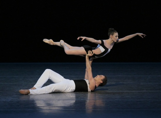 Tiler Peck floating over Tyler Angel in Two Hearts. Photo: Paul Kolnik