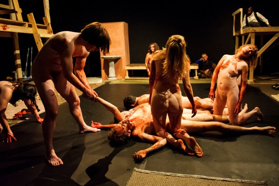 The tragic end of Rude Mech's reconstruction of the Performance Group's Dionysus in 69 (after Euripedes). The principal dead body: Pentheus (Josh Meyer)  ruler of Thebes. Photo: Ian Douglas