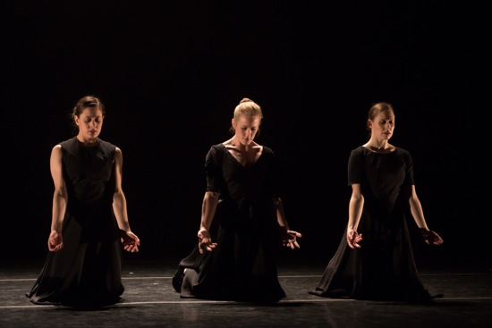 (L to R): Christine Ilisije, Lauren Garson, Melissa Ullom in Katarzyna Scarpetowska's Black Flowers. Photo: Eric Bandiero