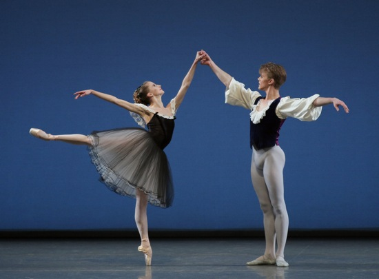 Sterling Hyltin and Chase Finlay in Mozartiana. Photo: Paul Kolnik