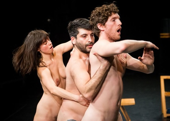 (L to R) Maggie Thom, Kayvon Pourazar, and Benjamin Asriel in Juliana F. May's Commentary = not thing. Photo: Ian Douglas