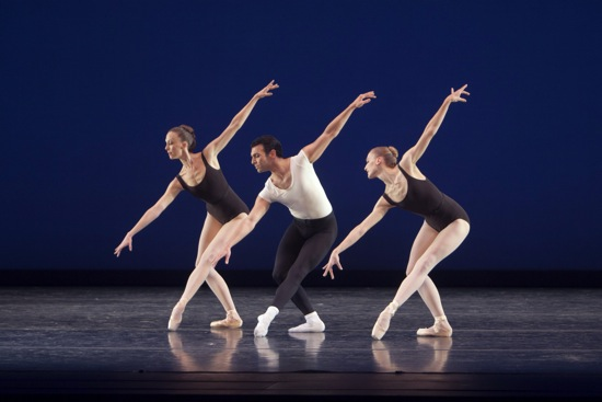 (L to R) Kylee Kitchens, Jonathan Poretta, and Elizabeth Murphy in Balanchine's Agon. Photo: Lindsay Thomas.