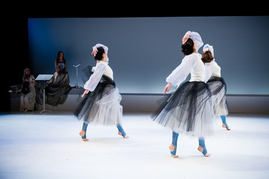 Three Giselles or three wilis. (L to R) Alexander, Lafferty, Clark. Rear: Pinky Weitzman (L) and Gelsey Bell. Photo: Ian Douglas