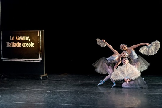 (L to R) Amanda ,Treiber,, Rie Ogura and Carmella Lauer of New York Theatre Ballet in Gemma Bond's Silent Titles.Photo: Darial Sneed