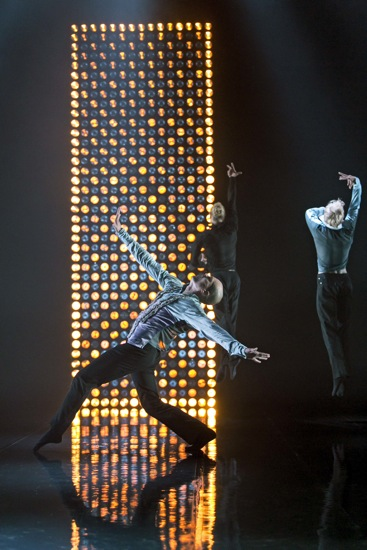 Jarkk Lehmus (foreground), Pekka Louhio, and Mikko Lampinen in Scheme of Things. Photo: Sakari Viiko