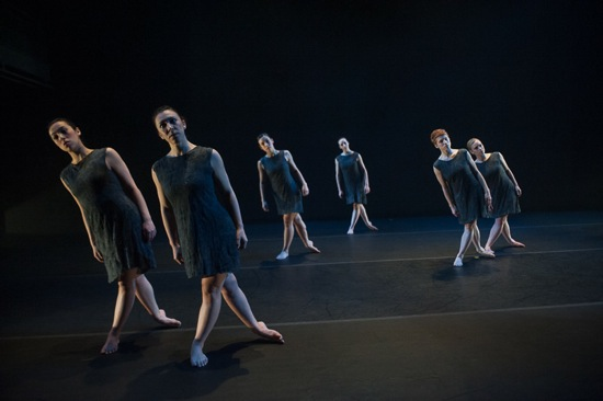 L to R: Angela Curotto, Sumi Clements, Kristin Schwab, Julie McMillan, Meg Weeks, Allie Lochary in Clements's Shift. Photo: Christopher Duggan