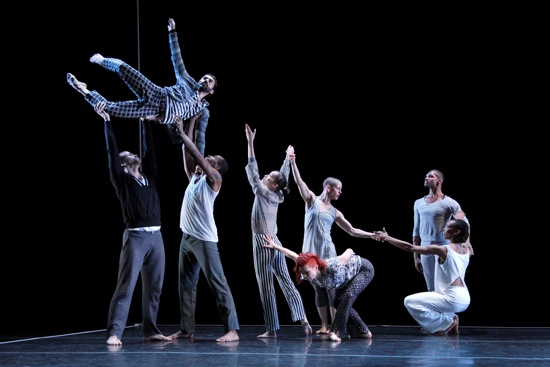 Ravel: Landscape or Portrait? Erick Montes Chavero (lifted) and (L to R): Talli Jackson, LaMichael Leonard, Jr., I-Ling Liu, Jennifer Nugent, Jenna Riegel (in front), Antonio Brown, Shayla La-Vie Jenkins. Photo: Paul B. Goode