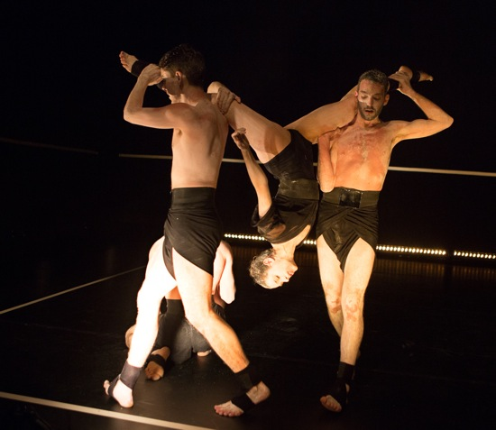 Jonathan Royse Windham (L) and Dan Walczak upend Francesca Romo in Andrea Miller's Blush. Photo: Yi-Chun Wu