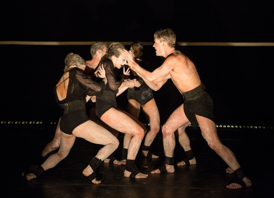 Gallim Dance in Blush. L to R: Caroline Fermin, Dan Walczak (partly hidden), Troy Ogilvie, Francesca Romo, Jonathan Royse Windham, Austin Tyson (only on leg visible). Photo: Yi-Chun Wu