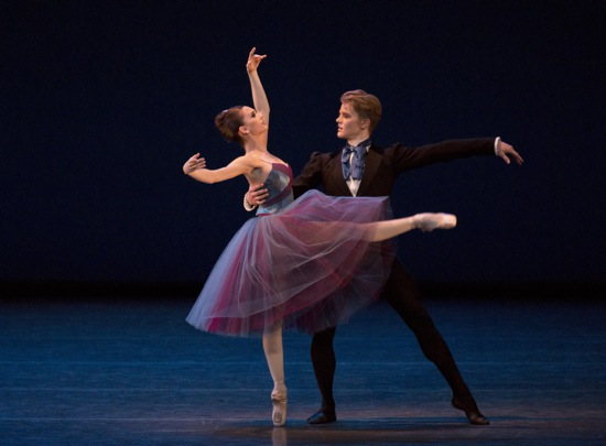 Lauren Lovette and Chase Finlay in the new pas deux of Soirée Musicale. Photo: Paul Kolnik