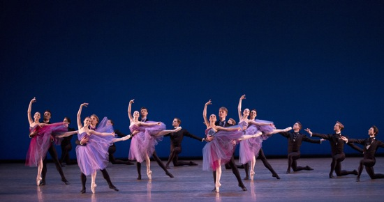 L to R: Brittany Pollack and Taylor Stanley, Sara Adams and Harrison Ball, Indiana Woodward and Peter Walker, Lauren Lovette and Chase Finlay, Kristen Segin and Ralph Ippolito of the New York City Ballet in Christopher Wheeldon's Soirée Musicale. Photo: Paul Kolnik