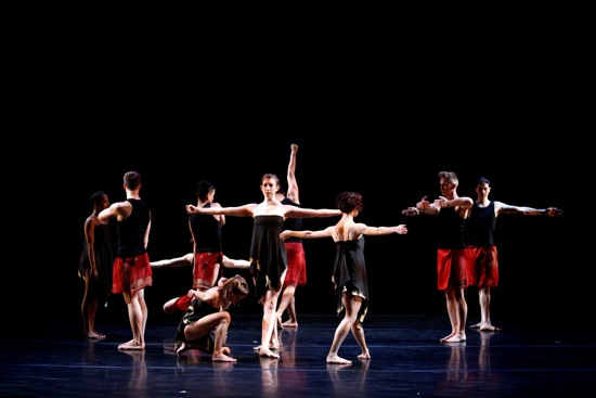 Dancers in Stephen Petronio's Like Lazarus Did (LLD 4/30), Emily Stone center. Photo: David Rosenberg