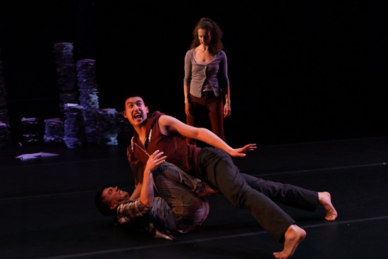 L to R: Jeffrey Duval, Kevin Ho, and Petra van Noort in Tiffany Mills' Berries and Bulls. Photo: Julie Lemberger