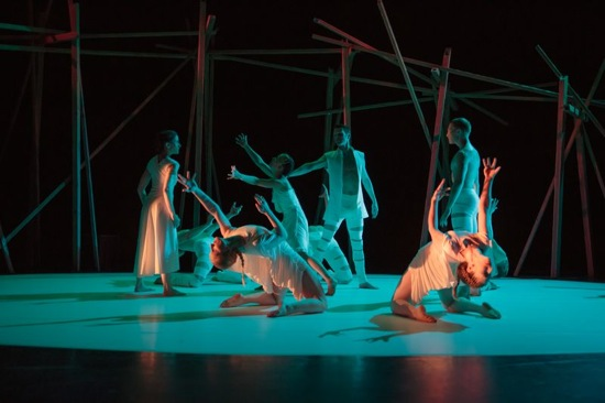 L to R: Clytemnestra (Marianna Tsartolia), Iphigenia (Jane Sato), Agamemnon (Brian Flynn), and Achilles (Jere Hunt). Photo: Sonia Negron