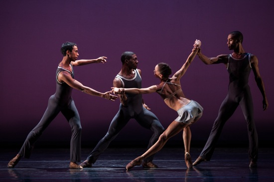 L to R: Francis Lawrence, Da' Von Doan, Chrystyn Fentroy, and Dustin   James in Robert Garland's Return. Photo: Matthew Murphy