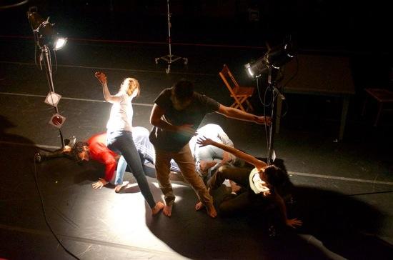 L to R: Jeremy Xido, Denisa Musilova, Nicholas Bruder, Jaroslav Vinarsky, Giulia Carotenuto in Strange Cargo. Photo: Emily Boland