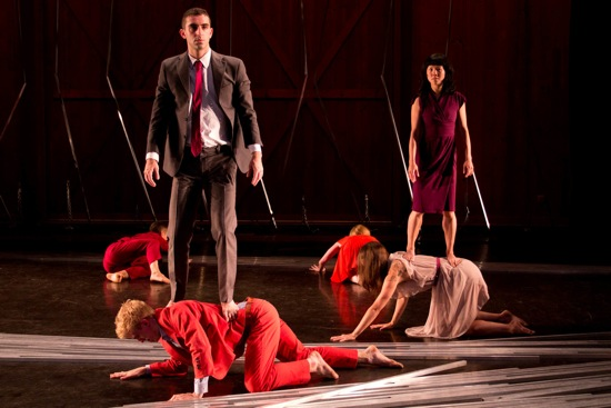 Brooks's Big City. L: Evan Teitelbaum standing on Bryan Strimpel. R: Jo-anne Lee standing on Meghan Frederick. Photo: Christopher Duggan