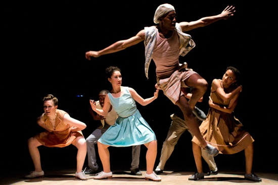 Byron Tittle takes off for (L to R): Elizabeth Burke, Claudia Rahardjamoto, and Karida Griffith. Concealed In back: Christopher Broughton and Nicholas Van Young. Photo: Em Watson