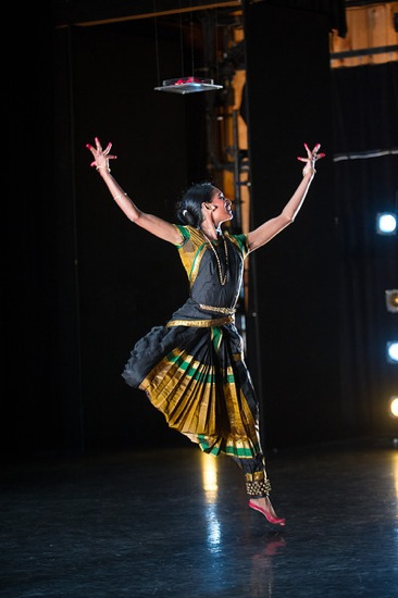 Leaping for Shiva: Shantala Shivalingappa in the solo Bhairava. Photo: Christopher Duggan