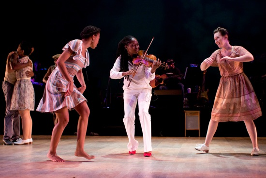Karida Griffith (L) and Elizabeth Burke dance to Juliette Jones's tune. Photo: Em Watson