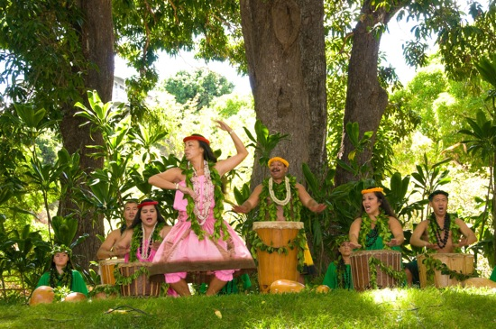 Coline Aiu's Hālau Hula O Maiki performing. Photo: Joe Solem. Courtesy of Moanalua Gardens Foundation