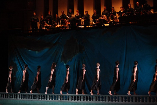 The dancers and musicians at the beginning of Dido and Aeneas. Photo: Hilary Scott
