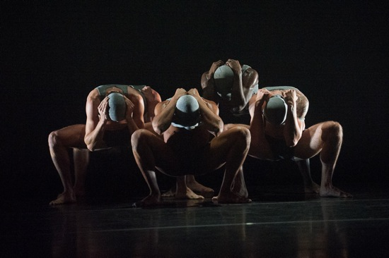 Five men of the Martha Graham Dance Company in Nacho Duato's Rust. Photo: Christopher Duggan, Courtesy of Jacob's Pillow