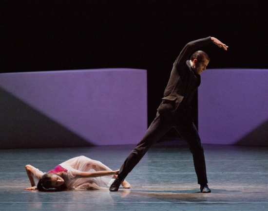 Tiler Peck getting a grip on Robert Fairchild. Photo: Paul Kolnik