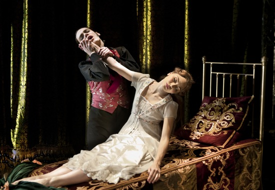 Adam Miskell as Caradoc cannot awaken Aurora (Hannah Vassallo) in Matthew Bourne's Sleeping Beauty. Photo: Simon Annand