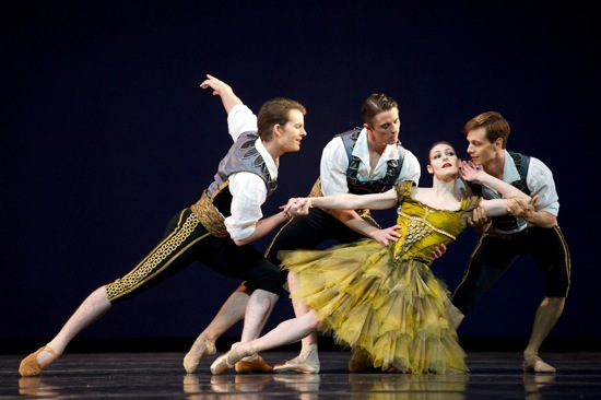 San Francisco Ballet  dancers (L to R) Shane Wuerther, Luke Ingham, and Luke Willis court Sofiane Sylve in Alexei Ratmansky's From Foreign Lands. Photo: Erik Tomasson