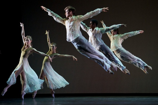 San Francisco Ballet dancers (L to R): Rebecca Rhodes, Alexandra Meyer-Lorey, Luke Willis, Francisco Mungamba, and Benjamin Stewart in Christopher Wheeldon's Ghosts©. Photo: Erik Tomasson