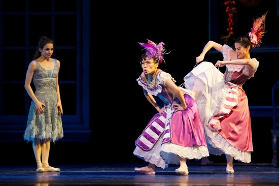 The heroine (Maria Kochetkova) and her stepsisters,  (L to R): Clementine (Frances Chung ) and Edwina (Vanessa Zahorian). Photo: Erik Tomasson