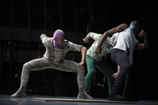 William Forsythe's Sider. (L to R): Yasutake Shimaji, Cyril Baldy, Josh Johnson. Photo: Julieta Cervantes